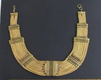 Vintage Leather, Brass & Copper Bib Choker Necklace - Unique, Egyptian Revival