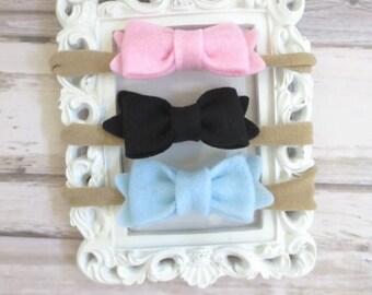 Baby headband set, baby bow headband, baby hair bow set, baby head band nylon, infant headband, newborn headband, toddler hair bow