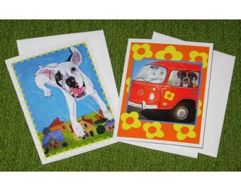 Set of 6 Boxer Dog Blank Note Greeting Cards Packed in Acrylic Gift Box, whimsical, colorful, 2 designs