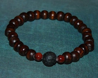 2 Friendship (or His and Hers )Lava Rock (Basalt) Bead and Wood Beads Buddha Mother Earth Unisex Bracelets