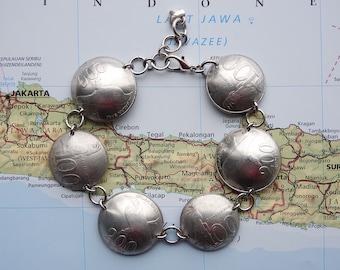 Indonesia bird coin bracelet - curved - made of original coins - bird jewelry
