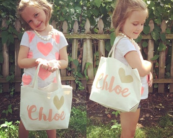 Personalized flower girl child Custom Canvas Tote Bag with heart Wedding Shower/Bridesmaid/Teacher Gift BALLET BAG church tote coral gold