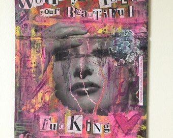 HELLO I LOVE YOU the doors jim morrison art painting collage
