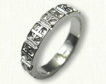 Celtic Cross Knot Wedding Band -Straight Edges (no rails)- 4mm - 14kt Any Color Gold & Sterling Silver