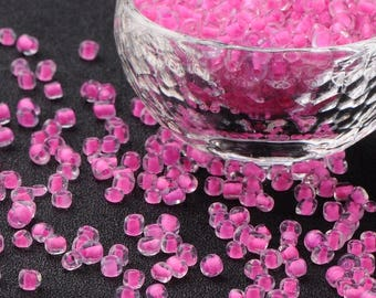 10g seed beads 6/0 inside pink 4mm