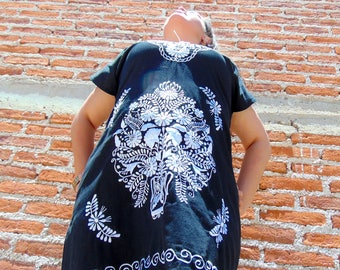 Mexican Dress, Mexican Embroidered Dress, Mexican Wedding Dress, Frida Kahlo, Oaxacan Dress, Black Mexican Dress, Traditional Mexican Dress