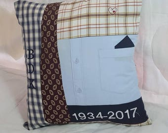 memory cushion pillow, personalised patchwork, personalized, unique gift, keepsake, memorial, lasting legacy, feather filled pad