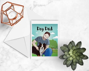 Dog Dad Artistic Note card with envelope of Man & Border Collie inspirational greeting card, printed from whimsical drawing. NC145