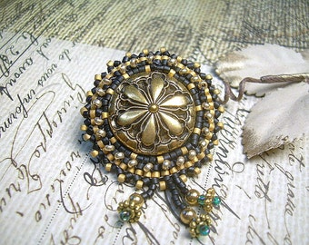 Beaded Button Pin Vintage Brass With Japanese Delica Beads And Charms