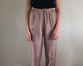 90s orchid silk lounge pants / high waisted pants / drawstring cropped pants | xs s m