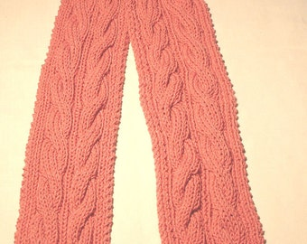 """New Handmade Knit Scarf - Lt Raspberry Red Heart Double Cable Pattern 5"""" x 71"""""""