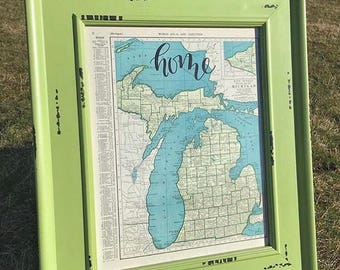 Massachusetts & Michigan | personalized calligraphy map | original vintage map | calligraphy map | custom calligraphy map