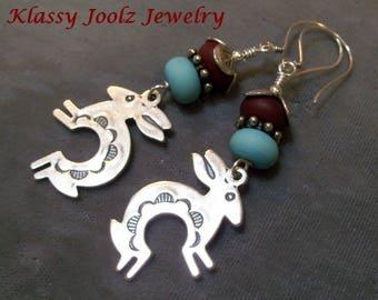 Sterling Silver Tribal Rabbit Charm-Glass Lampwork Beaded Earrings-Artisan Earrings-Artisan Lampwork-Organic-Tribal-Bohemian-Earrings-SRAJD
