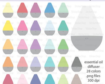 Essential Oils Diffuser Clipart 28 colors, PNG Digital Clipart - Instant download - aromatherapy
