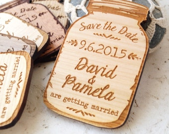 Mason jar magnets, save the date magnet, rustic save the date, save the dates, save the date magnets, wooden save the date magnet