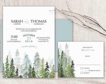 Winter Wedding Invitations Template Winter Wedding Invitation Suite printable wedding invite Evergreen Trees Watercolor DIY digital Suite