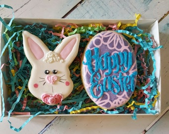 Bunny Face & Happy Easter Egg Cookie Gift Box
