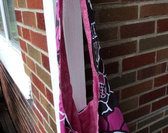 Pink Brown Floral Crossbody Hobo Bag Purse