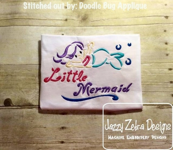 Little Mermaid Satin Stitch Outline Embroidery Design - mermaid Embroidery Design - girl Embroidery Design - beach Embroidery Design