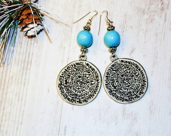 Metal Earrings Hippy Earrings Turquoise Earrings Bohemian Earrings Long Boho Earrings  Inspired Earrings Sterling Turquoise Earrings