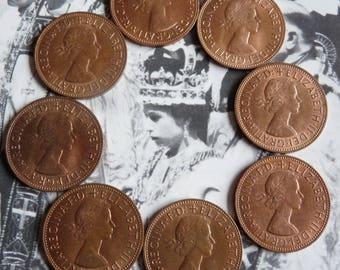 Vintage 1960s British Penny Coins Lot of EIGHT Queen Elizabeth Pennies 1967 1963