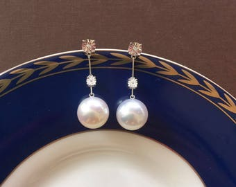 10-11mm Fresh Water Pearl Earrings Fresh Water Pearl Earrings Pearl Drop Earrings Pearl Earrings
