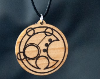 Wood Gallifreyan Timelord Wood Pendant