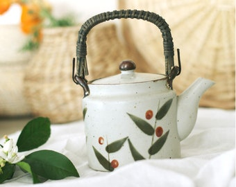 Vintage Japanese Teapot with Bamboo handle and design/Boho Decor/Drinking Glasses/Glassware/Barware 1970s