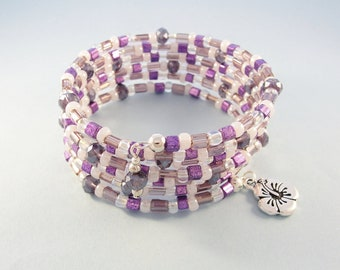 Purple memory wire bracelet - silver flower charm bracelet - beaded stretch bracelet - expandable cuff bracelet