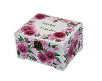Pet Keepsake Box for Small Dog Cat - Personalized, Hand Painted Memory Box, Sweet Floral Design - Animal Bereavement Box Pet Urn