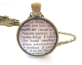 MOTHER Definition Necklace,  Mothers Day Gift,  Bronzed Pendant with Chain, Mothers Necklace, Gifts for Her