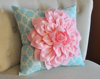 Light Pink Dahlia Flower on Blue Tarika Pillow Accent Pillow Throw Pillow Toss Pillow