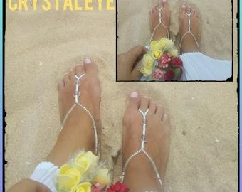 Luxorious beach wedding barefoot sandals