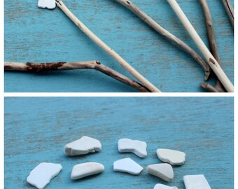 Surf Tumbled White Pottery Pieces  for Mosaic , Crafts & Jewelry  P18
