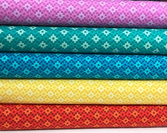 Bundle of 5 Geometric fabrics from the Paintbox Collection by Elizabeth Hartman for Robert Kaufman, Rhoda Ruth, Fancy Forest Fabric