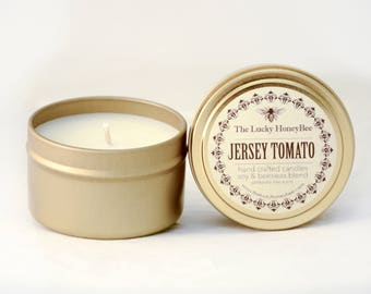 Jersey Tomato || 6 oz Scented Candle || Soy + Beeswax Blend Candle in Gold Tin