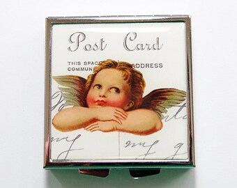 Cupid Pill case, Square Pill box, Cupid Pill box, 4 Sections, Pill Case for purse, Cupid, Angel, KellysMagnets (4115)