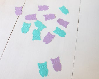 Purple and Aqua Owl Confetti- Baby shower confetti, birthday confetti- comes in a set of 100