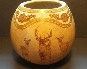 Buck and Does Decorative Gourd Art, carved gourd, pyrography