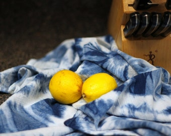 Hand Dyed Indigo Blue Shibori Kitchen / Tea / Dish Towel