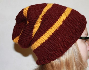 Wizard House Colors Knit Slouch Hat-Teen Gift IdeaRed-Gold