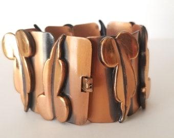 Vintage Renoir Copper Bracelet, Renoir Mid Century Bracelet, Modernist Copper Panel Bracelet, Copper Leaf Bracelet, Circa 1950