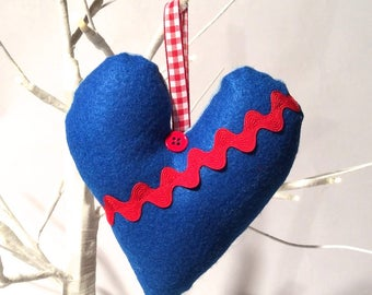 Crafty Christmas! Handmade Hand Stitched Blue and Red felt Rick Rack Stuffed Heart Ornament/Shabby Cottage Country Gingham Chic
