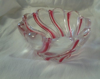 On Sale Beautiful Mikasa Glass Red Swirl Candy Dish