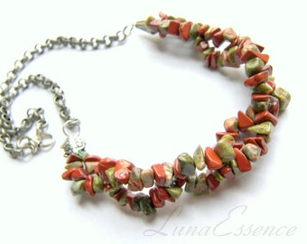 Unakite Necklace Red Jasper Chip Necklace Top Selling Jewelry Necklace gift for her Green Necklace Red Necklace Turtles