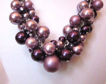 Pearl Cluster Necklace in Shades of Violet - Chunky, Choker, Bib, Necklace, Wedding, Bridal, Bridesmaid, Bright, Bold, SRAJD, OOAK