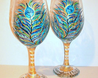 Peacock Feathers Hand Painted Wine Glasses Set 2- 20 oz Bridesmaids Gift, Bride Gift Wedding Anniversary Gift Plums, Navy Blue, Pinks, Blues