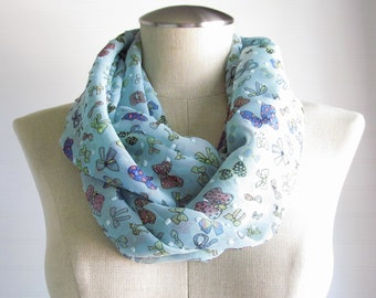 Bow Print Infinity Scarf - Blue Scarf - Turquoise Infinity Scarf - Multicolor Circle Scarf -- SALE