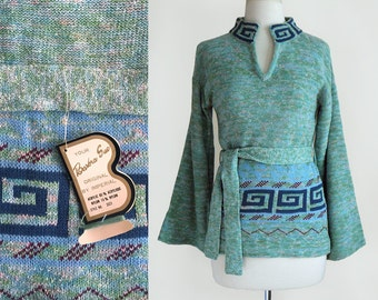 Vintage 70's Boho Space Dye Knit Sweater Top with Bell Sleeves in Seafoam Turquoise Blue / NOS Deadstock / Small