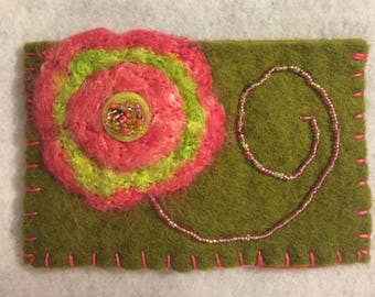 Green and pink needle felted pouch